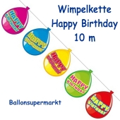 Happy Birthday Wimpelkette in Ballonform