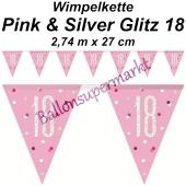 Wimpelkette Pink & Silver Glitz 18 zum 18. Geburtstag