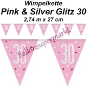 Wimpelkette Pink & Silver Glitz 30 zum 30. Geburtstag