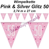 Wimpelkette Pink & Silver Glitz 50 zum 50. Geburtstag