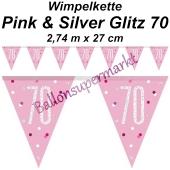 Wimpelkette Pink & Silver Glitz 70 zum 70. Geburtstag