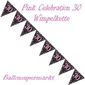 Wimpelkette Pink Celebration 30 zum 30. Geburtstag