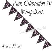 Wimpelkette Pink Celebration 70 zum 70. Geburtstag