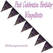 Wimpelkette Pink Celebration Birthday zum Geburtstag