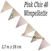 Wimpelkette Pink Chic 40 zum 40. Geburtstag