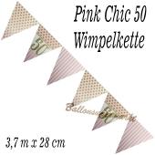 Wimpelkette Pink Chic 50, Dekoration 50. Geburtstag