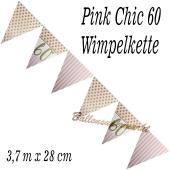 Wimpelkette Pink Chic 60 zum 60. Geburtstag
