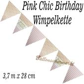 Wimpelkette Pink Chic Birthday zum Geburtstag