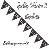 Wimpelkette Sparkling Celebration 18 zum 18. Geburtstag