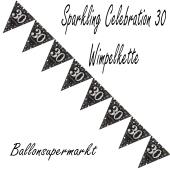Wimpelkette Sparkling Celebration 30 zum 30. Geburtstag