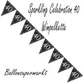 Wimpelkette Sparkling Celebration 40 zum 40. Geburtstag