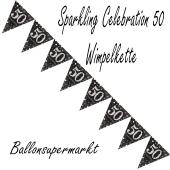Wimpelkette Sparkling Celebration 50 zum 50. Geburtstag
