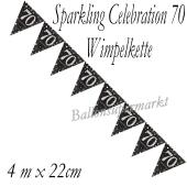 Wimpelkette Sparkling Celebration 70 zum 70. Geburtstag