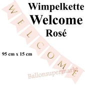 Wimpelkette Welcome, rosa