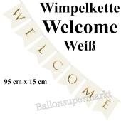 Wimpelkette Welcome, weiß