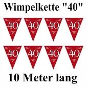Wimpelkette Zahl 40, rubinrot, Rubinhochzeit, 40. Geburtstag