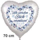 Wir werden Dich vermissen Vergissmeinnicht. Herzluftballon. 70 cm inklusive Helium