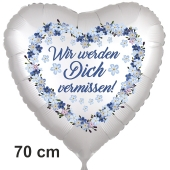 Wir werden Dich vermissen! Vergissmeinnicht-Herzluftballon, 70 cm, satinweiß, ohne Helium