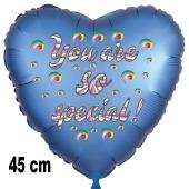 You are so special! Herzluftballon, Folie, satinblau, 45 cm, ohne Helium