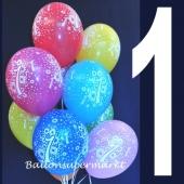 Luftballons mit der Zahl1, Ballons zum 1. Geburtstag
