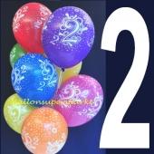 Luftballons mit der Zahl 2, Zahlenballons zum 2. Geburtstag