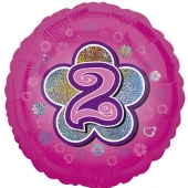 Luftballon aus Folie zum 2. Geburtstag, rosa Rundballon, Mädchen, Zahl 2, inklusive Ballongas