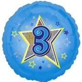 Luftballon aus Folie zum 3. Geburtstag, blauer Rundballon, Junge, Zahl 3, inklusive Ballongas