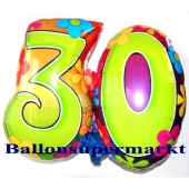 Flower Power 30 Luftballon aus Folie zum 30. Geburtstag inklusive Helium