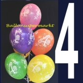 Luftballons Zahl 4, Latexballons, Zahlenballons zum 4. Geburtstag