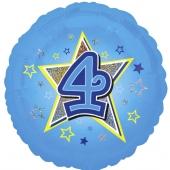 Luftballon aus Folie zum 4. Geburtstag, blauer Rundballon, Junge, Zahl 4, inklusive Ballongas