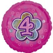 Luftballon aus Folie zum 4. Geburtstag, rosa Rundballon, Mädchen, Zahl 4, inklusive Ballongas