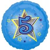 Luftballon aus Folie zum 5. Geburtstag, blauer Rundballon, Junge, Zahl 5, inklusive Ballongas