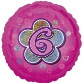 Luftballon aus Folie zum 6. Geburtstag, rosa Rundballon, Mädchen, Zahl 6, inklusive Ballongas