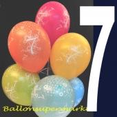 Luftballons mit der Zahl 7, Latexballons mit Zahlen, zum siebten Geburtstag
