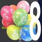 Luftballons mit der Zahl 8, Latexballons mit Zahlen, zum achten Geburtstag