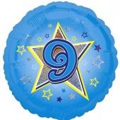 Luftballon aus Folie zum 9. Geburtstag, blauer Rundballon, Junge, Zahl 9, inklusive Ballongas