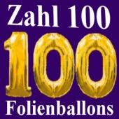 Zahl 100, Zahlenballons aus Folie mit Helium zur Dekoration des 100. Geburtstages und Jubiläums