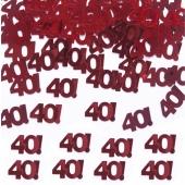 Konfetti Zahl 40, rot, Streudekoration, Tischdekoration zu 40. Rubinhochzeit