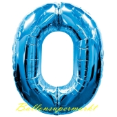 Zahlendekoration Zahl 0, Null, Großer Luftballon aus Folie, Blau, 1 Meter hoch, Folienballon Dekozahl