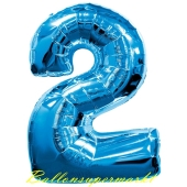 Zahlendekoration Zahl 2, Zwei, Großer Luftballon aus Folie, Blau, 1 Meter hoch, Folienballon Dekozahl