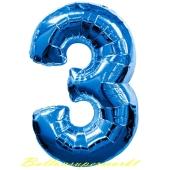 Zahlendekoration Zahl 3, Drei, Großer Luftballon aus Folie, Blau, 1 Meter hoch, Folienballon Dekozahl