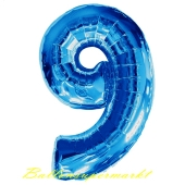 Zahlendekoration Zahl 9, Neun, Großer Luftballon aus Folie, Blau, 1 Meter hoch, Folienballon Dekozahl