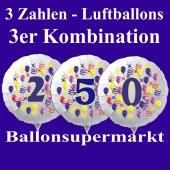 Zahlen-Luftballons aus Folie, 3 Zahlen Kombination zu Geburtstag und Jubiläum
