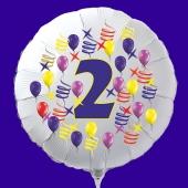 Zahlen-Luftballon aus Folie, Zahl 2, zu Geburtstag und Jubiläum