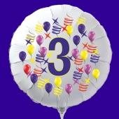 Zahlen-Luftballon aus Folie, Zahl 3, zu Geburtstag und Jubiläum