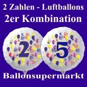 Zahlen-Luftballons aus Folie, 2 Zahlen, zu Geburtstag und Jubiläum