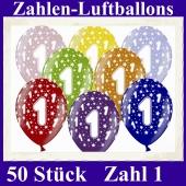 Luftballons mit der Zahl 1 zum 1. Geburtstag, 50 Stück, bunt gemischt, 30-33 cm