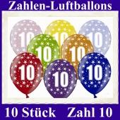 Luftballons mit der Zahl 10 zum 10. Geburtstag, 10 Stück, bunt gemischt, 30-33 cm