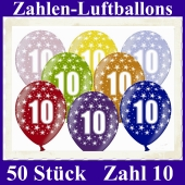 Luftballons mit der Zahl 10 zum 10. Geburtstag, 50 Stück, bunt gemischt, 30-33 cm