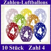 Luftballons mit der Zahl 4 zum 4. Geburtstag, 10 Stück, bunt gemischt, 30-33 cm